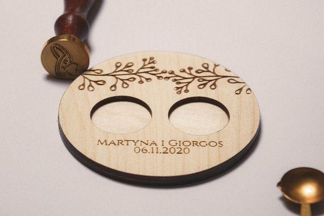 Drewniane pudełko podstawka na obrączki rustykalne personalizacja