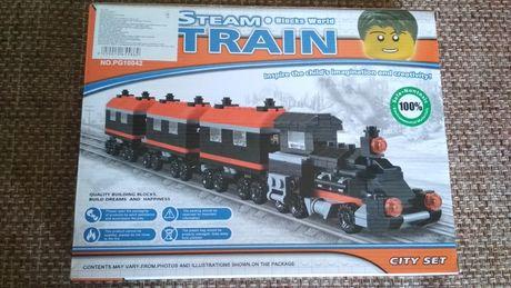 Конструктор поезд паровоз с вагонами 363 детали НОВЫЙ