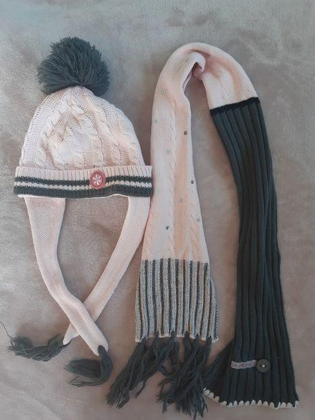 Komplet czapka szalik pudrowy róż szary jesień zima zestaw