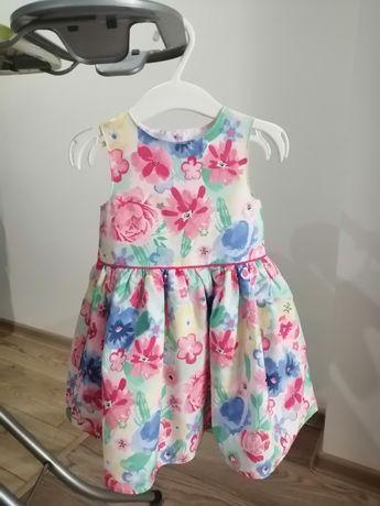 Elegancka sukienka na lato kwiaty wesele Primark rozmiar 86