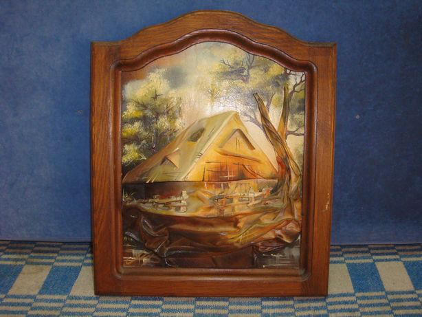 настенное панно картина домик в лесу подпись