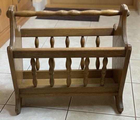 Gazetownik drewniany dębowy, stan idealny
