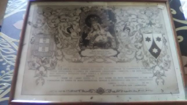 Quadro com Certificado donativo carmelitas