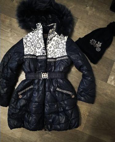 Зимняя куртка для девочки 134-146+ шапка