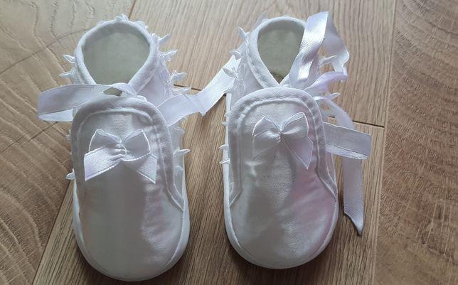 Buty buciki na chrzest lub roczek, nie używane