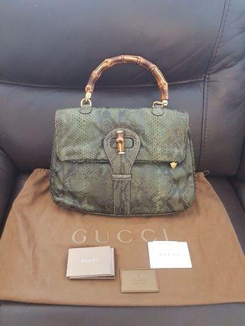 Аутентичная сумка Gucci с бамбуковой ручкой из кожи питона