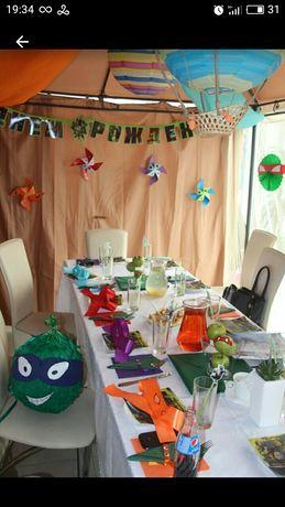 Декор Дня рождения в стиле Ниндзя черепашка. Кенди бар.