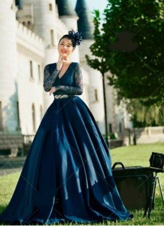 Платье вечернее синеее гипюр атлас для фотосессии недорого