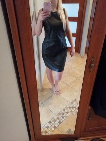 Skórzana, skajowa sukienka czarna