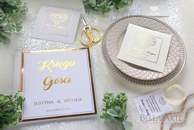 Złocone Eleganckie Zaproszenia ślubne na ślub Klasyczne Glamour EKO