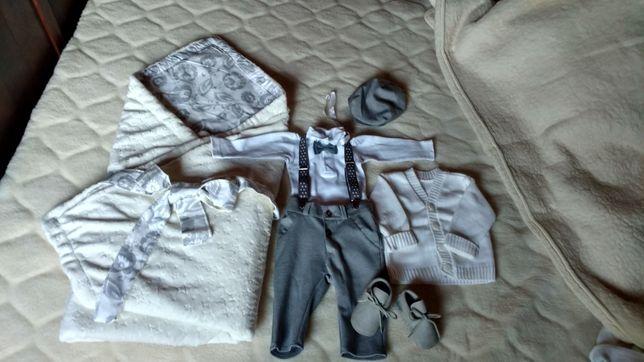 Piękne ubranko na chrzest, chłopięce, rozmiar 68, plus becik, kocyk