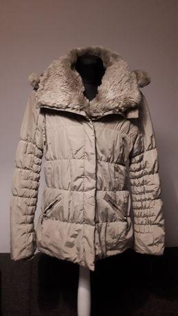 kurtka zimowa ocieplana na kożuchu beżowa Nature Collection XL
