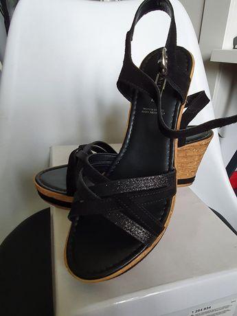 Nowe sandałki na koturnie skóra 39 5Avenue