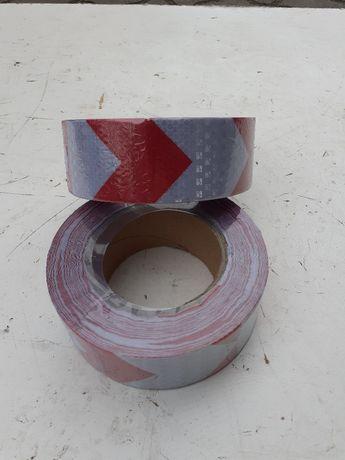 taśma odblaskowa samoprzylepna 5cm plaster miodu biało czerwona