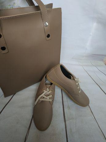Бежевые туфли мокасины на шнурке. Турция