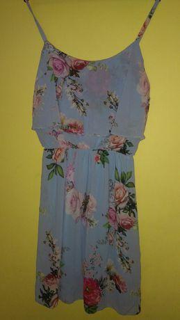 Sukienka M/L błękitna kwiaty