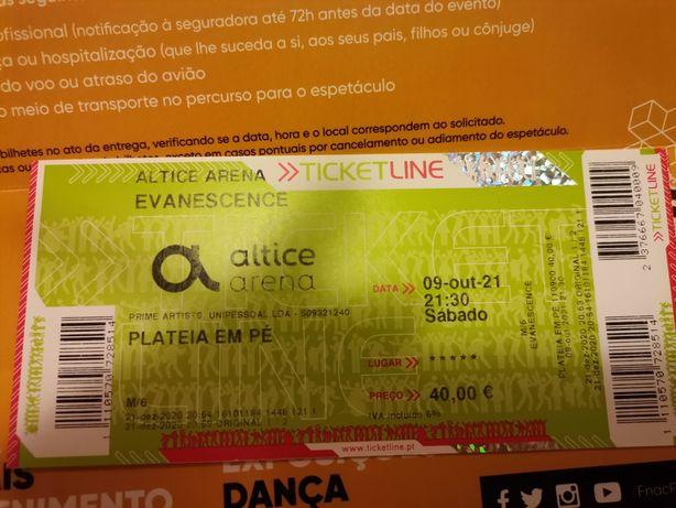 Bilhetes Evanescence