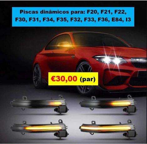 Piscas dinâmicos retrovisor BMW séries F (1, 2, 3, 4, X1, i3)
