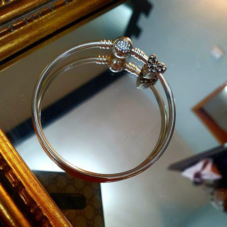 Srebrna pandorka sztywna bransoleta jedna przywieszka 925