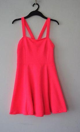 H&M elegancka neonowa rozowa malinowa rozkloszowana sukienka 36 S 38 M