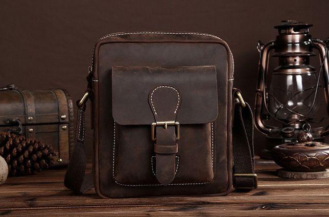 Мужская кожаная сумка-барсетка через плече. Натуральная кожа