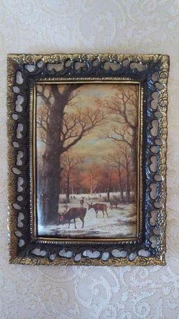 """Картина шелкография """"Олени в лесу"""" в бронзовой раме 21 × 15,5 см,"""