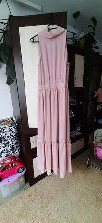 Sukienka Reserved pudrowy róż długa 36 38