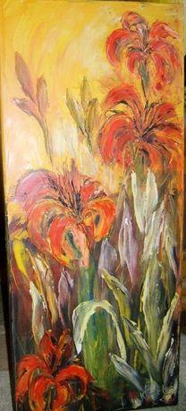 """Obraz olejny """"Smolinoski - lilie"""" 30 x 70"""