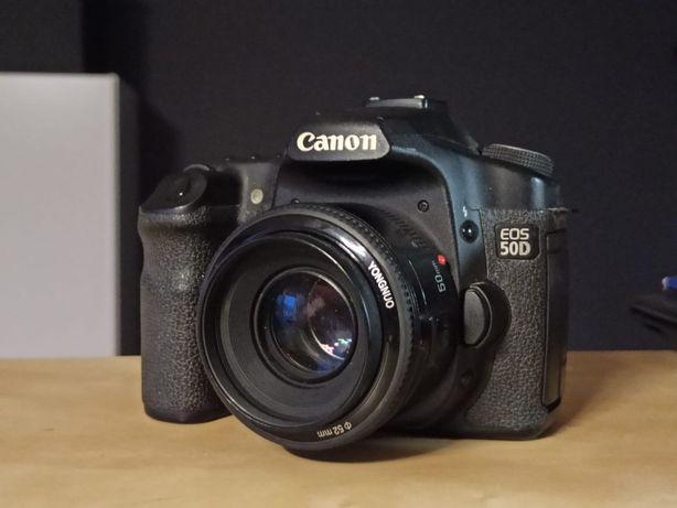 Canon EOS 50D+bateria+ładowarka+karta pamięci 8gb+obiektyw Yongnuo 52m