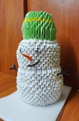 Модульное оригами снеговик