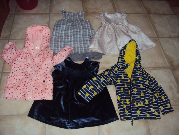 Paka ubrań dla dziewczynki 98 sukienki nowe kurtki