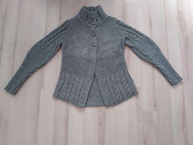 Szary sweter warkocz modny rękaw XS S M L