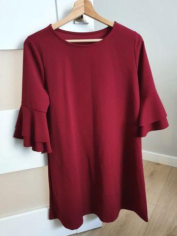 Bordowa sukienka trapezowa r. M
