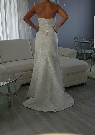 Koronkowa suknia ślubna balowa Syrena Nowa Tren