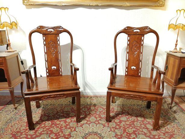 2 Cadeirões (Bergères Poltronas Cadeiras) Pau-rosa Oriente China Macau