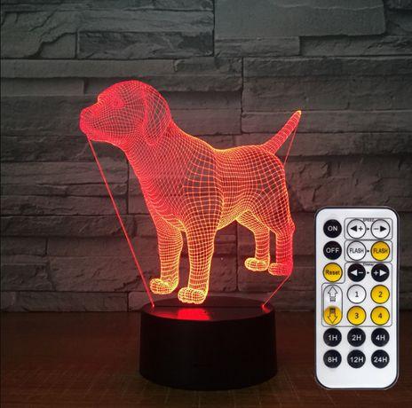 LAMPKA Nocna PIES 3D LED hologram Prezent PILOT