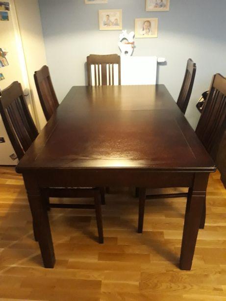 Stół drewniany dębowy i 6 krzeseł, lite drewno