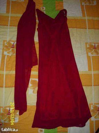 sukienka bordowa z szalem 38 oraz gratis plażowa 36