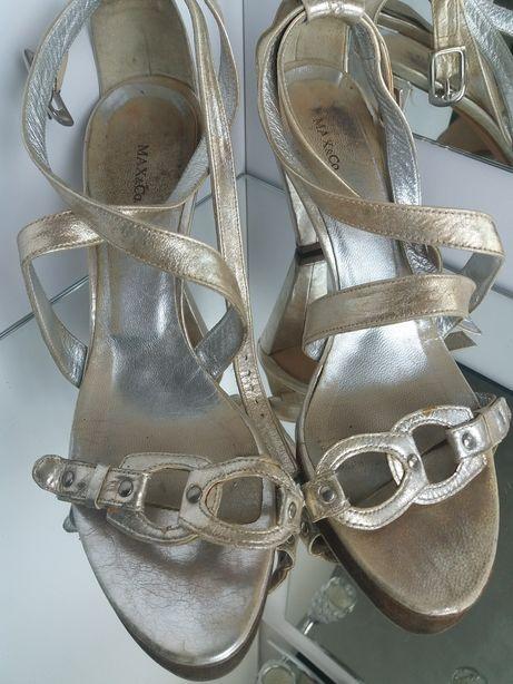 MAX & Co Sandały 39 szpilki Buty skora naturalna Zlote srebrne