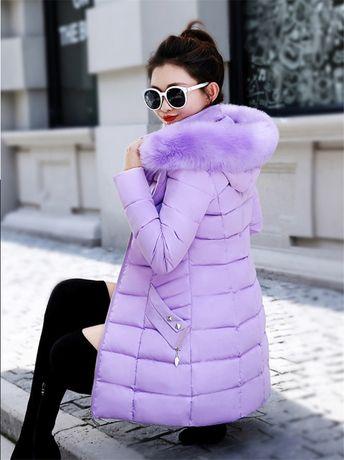 Женский пуховик 42 размер женская теплая длинная куртка лаванда