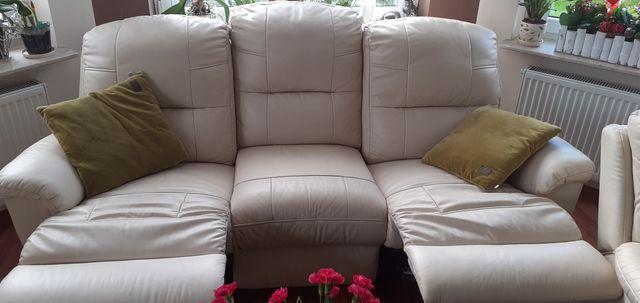 Wypoczynek skórzany z funkcją relaks kanapa+2 fotele