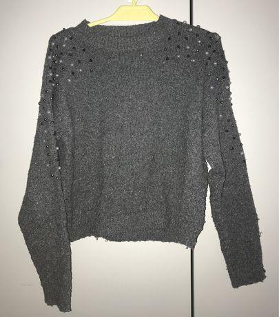 Next szary sweter z perełkami 122 cm