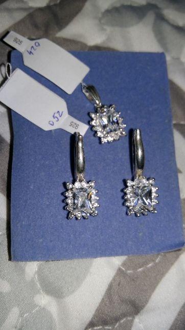 Zestaw biżuterii srebrnej kolczyki zawieszka cyrkonie