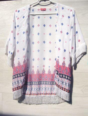 Накидка блузка LC Waikiki белая разноцветная с бахромой принт 11 12 лт