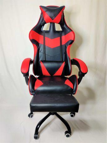 [NOVO] Cadeira Gaming Preta e Vermelha com Apoio para os Pés