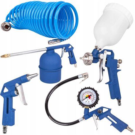Zestaw lakierniczy do malowania pistolet sprężarka 5 elementów (MAL43)
