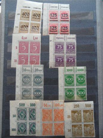DR Deutsches Reich czwórki czyste znaczki pocztowe narożniki