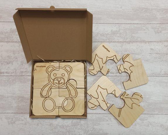 Zestaw: Układanka drewniana / puzzle montessori - 3 obrazki.