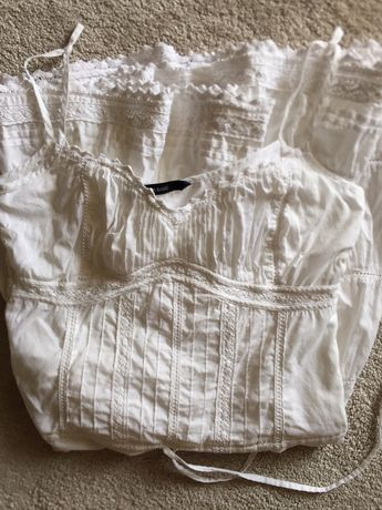 Vestido de alças branco com paineis ZARA