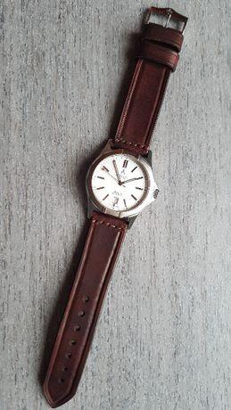 Skórzany pasek zegarka 22mm woskowany ciemny brąz